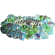 Crystal Bracelet, Expandable Cha Cha, 50's Blue Green
