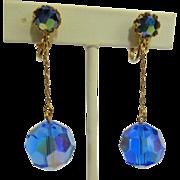 Crystal Drop Earrings, Vintage 1960's