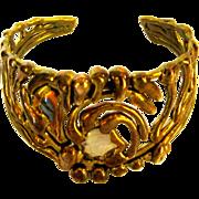 Cuff Bracelet, Mixed Metals, 1980's Art Nouveau Revival