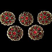 Five Rhinestone Buttons, Vintage Red & Metal Filigree