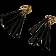 Vintage Drop Earrings, Black Plastic & Filigree