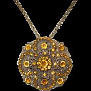 Czech Necklace / Brooch, Filigree Art Nouveau