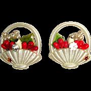 Vintage Rhinestone Earrings, 50's Figural