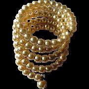 Glass Pearl Bracelet, Vintage Memory Wire Wrap