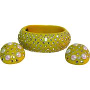 Weiss Rhinestone Bracelet & Earrings, Deco Thermoset Yellow