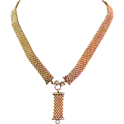 Victorian Necklace, Panther Mesh Chain, Sterling & Gold Wash