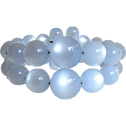Moonglow Bead Bracelet,  Two Row,  Baby Blue
