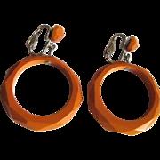 Faceted Bakelite Hoop Earrings, Vintage Deco Butterscotch