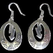 Hoop Earrings, Sterling Silver, Vintage Mexican