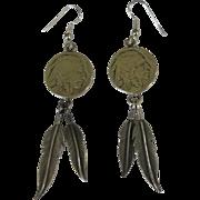 Buffalo Head Nickel Earrings, Sterling Leaves, Native American