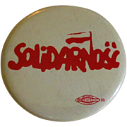 Solidarnosc Button, Vintage Polish Trade Union