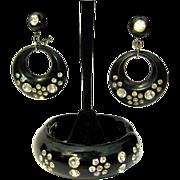 Deco Rhinestone Bracelet & Earrings, Black Clamper Set