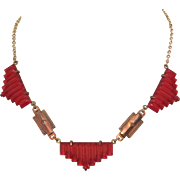 Pididdly Links Necklace Art Deco / Egyptian Revival Art Glass