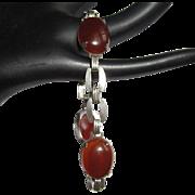Art Deco Cherry Amber Bracelet, Sterling Silver