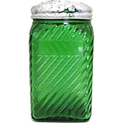 Vintage Glass Shaker, Green Depression, Deco Owens Illinois