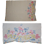 Embroidered Mother Table Runner, Vintage Floral