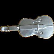 Violin Dish, Vintage Aluminum Flip Lid, Fiddle Collectible