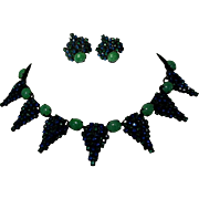 Hobe Rhinestone Necklace & Earrings, Signed
