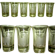 SOLD Art Deco Shot Glass Set, 6 Etched Scottie Dogs