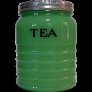 Jeannette Jadite Tea Canister, Dark Glass