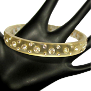 Rhinestone Bracelet, Lucite Bangle, 60's Moonglow
