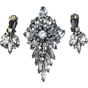 Juliana Brooch & Drop Earrings, Rhinestone Japanned