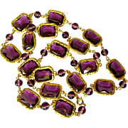 Vintage Chicklet Necklace, 1980's Amethyst Glass Chain