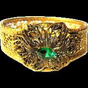 Filigree Bracelet, Vintage Rhinestone Floral, Gold Filled