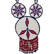Native American Necklace, Indian Beaded Pendant