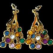 Vintage Crystal Earrings, 1960's Chandelier