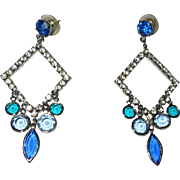 Crystal Earrings, 1960's Rhinestone Geometric