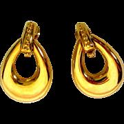 Vintage Hoop Earrings, Large, Gold Toned Monet