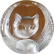 SOLD Crystal Cat Paperweight, Mats Jonasson, Sweden - Red Tag Sale Item