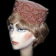 SALE Velvet Pill Box Hat, Beaded & Sequins, Vintage 1950's