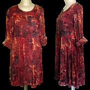 Vintage Batik Print Dress, Rayon Dance Dress
