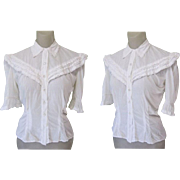 Vintage Blouse, Fine White Cotton & Lace, Glass Buttons, 40's