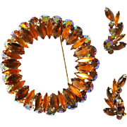 Juliana Rhinestone Brooch & Earrings, 1960's Fall Colors