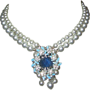 1950's Rhinestone Necklace, Glass Pearl Strands