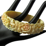 Celluloid Floral Bangle, 30's Painted, Molded Bracelet