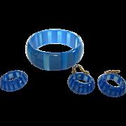 Vintage Lucite Set, Bracelet, Earrings & Ring, Striped