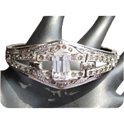 Art Deco Bracelet, Rhinestone Clamper, Wedding