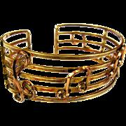Vintage Musical Bracelet, Cuff, Treble Clef