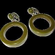 Vintage Bakelite Earrings, Large Hoops