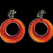 Orange Hoop Earrings, Vintage Clear Lucite