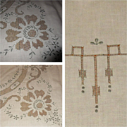Lace Tablecloth & Napkins, Vintage Linen Cutwork, Embroidered
