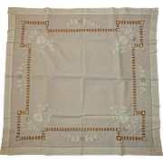 Vintage Lace Tablecloth, White Cutwork
