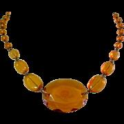 Intaglio Glass Necklace, Art Deco Czech