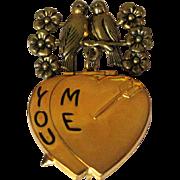 Heart Locket, 1940's Sweetheart, Valentines Brooch