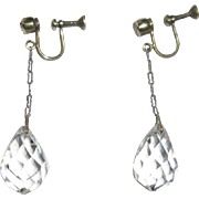Crystal Earrings, Edwardian Sterling Drop Briolette