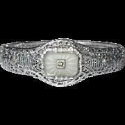 Rhodium Filigree Bracelet, Camphor Glass Deco